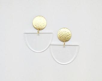 Noodle Bowl Clear Earrings