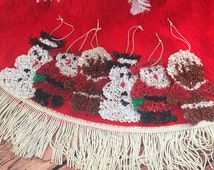 Vintage Plastic Popcorn Christmas Tree Ornaments, Set of 6 - 2 Snowmen 2 Gingerbread Men 2 Santas, Melted Plastic Popcorn, Christmas Decor