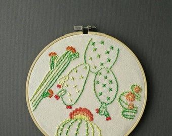 Flowering Cactus - Hand Embroidered 20cm Hoop Wall Art