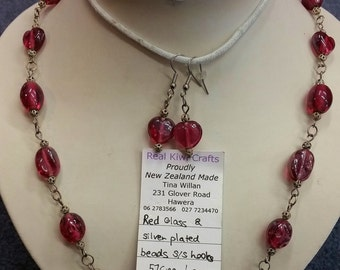 Rose Pink Glass Bead Necklace