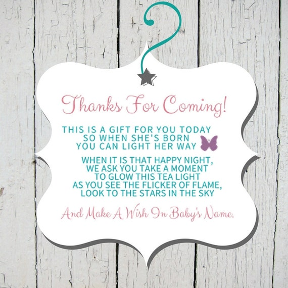 Favor Tag Wish Upon A Candle Baby Shower Baby Sprinkle