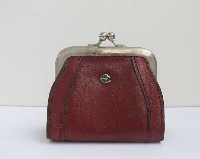 Red coin purse by Creation Esquire, vintage Burgundy leather wallet, 1970's ladies household budget purse