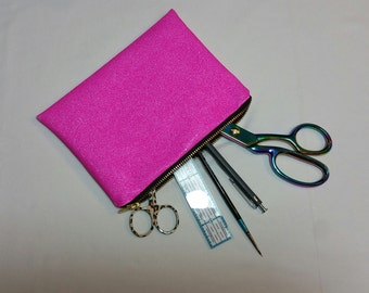 Small make up bag/pencil case - bright pink sparkles