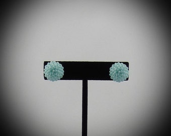 Light Blue Chrysanthemum Resin Earrings