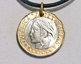 ITALY Coin Necklace Pendant charm 1000 L. 1997 Coin jewelry
