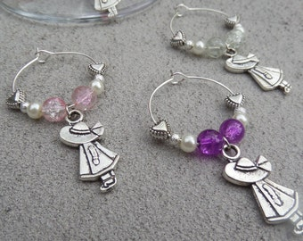 Set of 4 Pink Girl Wine Glass Charms