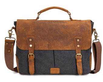 Waxed Canvas Messenger Bag / Leather Messenger Bag / Laptop Messenger Bag / Men Messenger Bag / Messenger Bag Men / Satchel / Briefcase men
