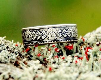 1907 Austria 5 Corona 90% Silver Coin Ring