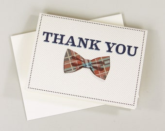 Retro Bowtie Folded Thank You Card - A2 Broadfold Thank You Card with A2 Envelope
