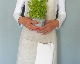 Full flax linen apron, pure flax linen fabric, long french linen apron,  linens for kitchen