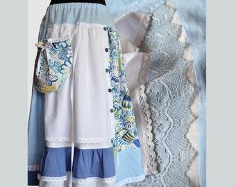 Long linen skirt, Boho skirt, White and blue, Summer skirt, Maxi skirt with pocket, For her, Ethnic clothing, Hippie skirt