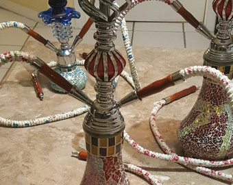 Colorful Glass Hand Crafted Hookahs (Medium) + Free Hole Puncher & Foil