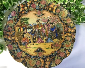 "Stunning Vintage Embossed Moriage Chinese, Oriental Geisha Girl & Floral Satsuma 12.5"" Charger"