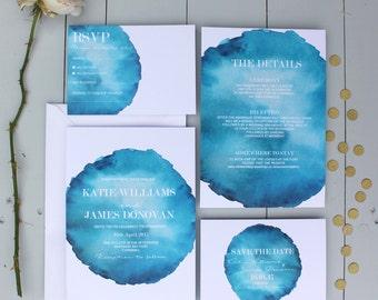Watercolour Wedding  Invitation, Blue Wedding Invite, Coastal Watercolour Wedding Invitation Suite