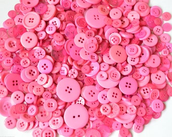 PINK - Plastic Buttons / Assorted Buttons - 50g, 100g, 300g, 500g.