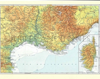 Old map of the Riviera (1962) - original vintage of the Côte d