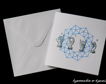 Embroidered card - joy - white/blue