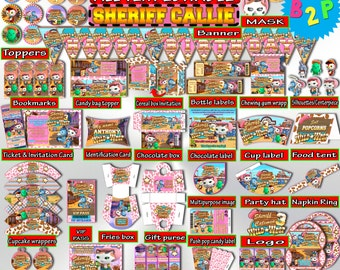 SHERIFF CALLIE Birthday Party Kit, Editable Birthday Party Decorations Printable, Package, Birthday Bundle, Invitation, Instant Download