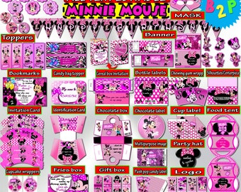 Minnie Mouse Bithday Party Kit, Editable Birthday Package Pink, Minnie Mouse Decorations Printable, Invitation, Toppers, Instant Download