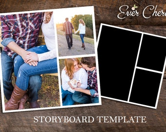 3-Rectangle (3-Portrait) Photo Digital Collage Storyboard Photographer Template PSD Social Media Blog Facebook Pinterest Photography