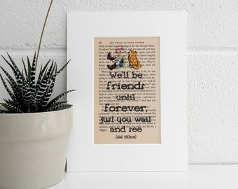 Vintage Book Print, Winnie the Pooh Quote, A A Milne Literary Quote Art, Childrens Room Decor, Best Friend Gift, BFF Gift