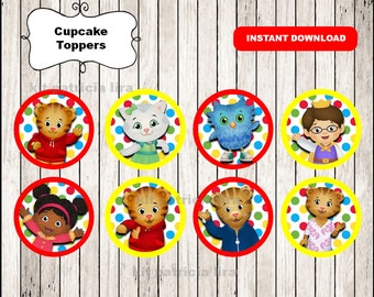 Daniel tigers toppers instant download , Daniel tiger cupcakes toppers labels, Printable Daniel tiger party toppers