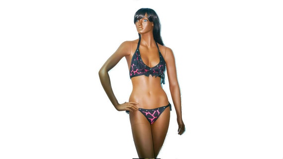 Stripperwear Exotic dancewear 2 Piece Printed Fringe Set With Rhinestones.