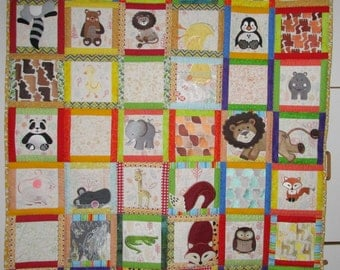 "Machine Embroidered Baby Quilt, Baby Quilt, Animal Adventures Baby Quilt, Crib Quilt, Handmade Baby Quilt - B - approx 48"" x 56"""