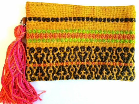 Wool embroidered pouch