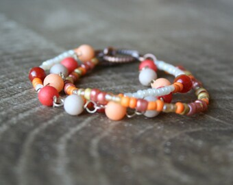 Child Sized Three Strand Orange Beaded Bracelet, Orange Beaded Bracelet, Copper Beaded Bracelet, White Beaded Bracelet, Multistrand Bracelet