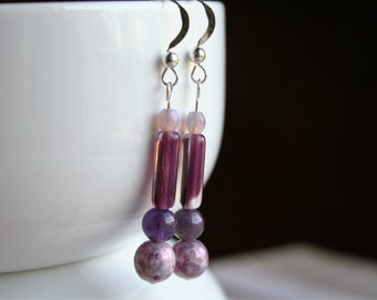 Purple Beaded Dangle Earrings, Purple Dangle Earrings, Purple Beaded Earrings, Sterling Silver Earrings, Purple Earrings, SIlver Earrings