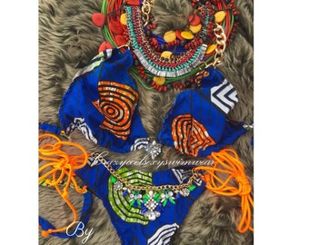 African print hand made bikini