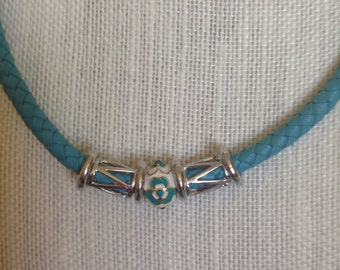 Blue Braided Leather Necklace 6mm 18 inch