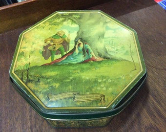 Antique 1920's Robin Hood octagon biscuit tin loose wiles biscuit co.
