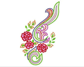 Paisley Floral Pattern Machine Embroidery Design, 3 Sizes, PES Format