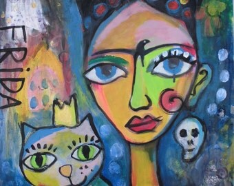Frida Kahlo 52 - original paintings, mixed media portrait, acrylic painting, painting