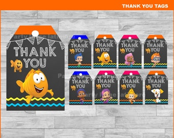 Bubble Guppies Thank you Tags Instant download, Bubble Guppies Chalkboard tags, Bubble Guppies party Thank you Tags