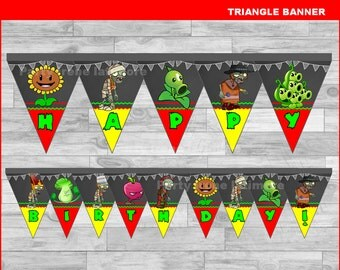 Plants vs Zombies triangle Banner Instant download, Plants vs Zombies Chalkboard Banner, Plants vs Zombies banner