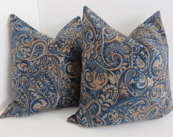 Blue Brown Pillow Etsy