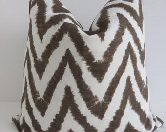 Brown zig zag pillow cover, Chevron pillow cover, Brown white pillow cover, Pillow cover, Accent decoration, Home decor
