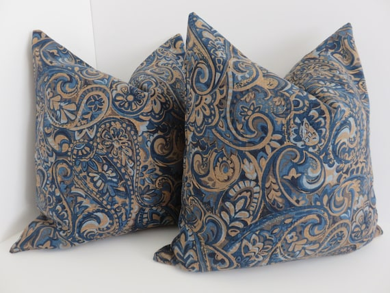 Blue Paisley Linen Pillow Cover Brown Blue Paisley Pillows