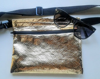 Gold Faux Leather Fanny Pack, Sleek, Stylish and Edgy