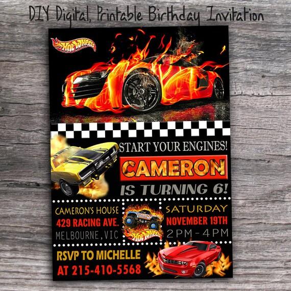 Hot Wheels Birthday Party Invitation Digital By