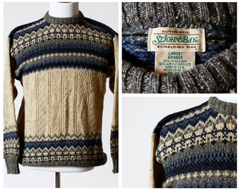 Vintage Men's Sweater - St. John's Bay Wool Blend 90s Retro Large Long Sleeve Fall Winter