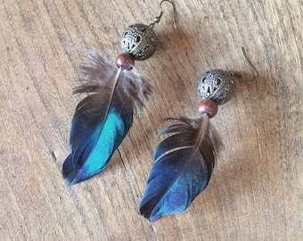 Earth Iridescent Feather Earrings