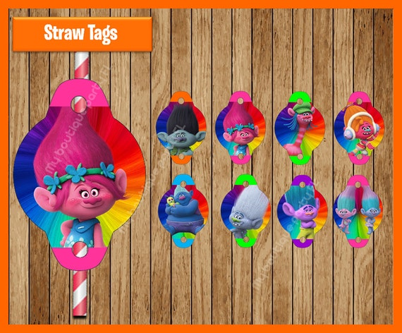 Downloadable Trolls Straw Flags