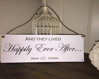 Personalised Wedding happily Ever After Plaque 10x30cm wedding gift