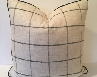 Black, Charcoal, Cream Plaid Designer Pillow