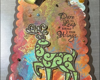 Mixed Media Art Tag, Deer Gift Tag, Dare to Leap Gift Tag, Self-Acceptance Tag, Encouragement Tag, Vintage Style, Shabby Chic, Home Decor
