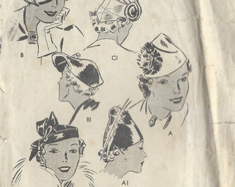 1930s Vintage Sewing Pattern HATS SIZE: 23 (1279)   Butterick 7080
